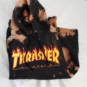 90's Y2K Thrasher Bleach Dye Flame Hoodie
